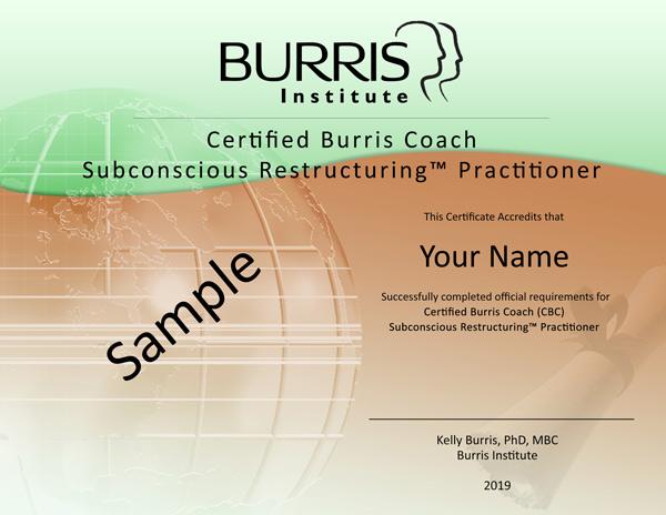 Sample Subconscious Restructuring Certificate